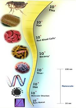 Skala dari milimeter menuju nanometer.