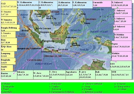 Pemetaan bencana dan kondisi darurat di Indonesia.