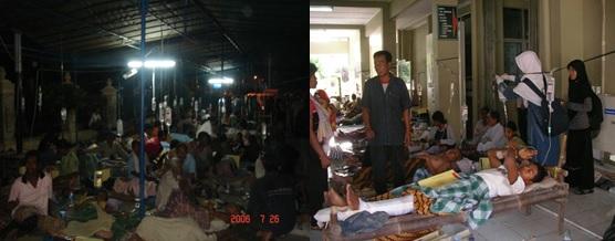 Suasana di RSUP dr. Sardjito pada saat bencana gempa bumi Yogyakarta.