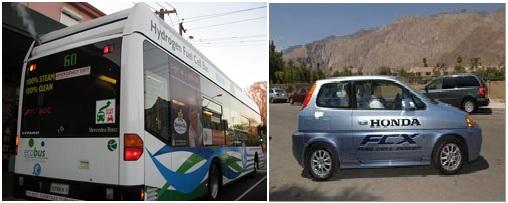 Bus dan mobil yang digerakkan dengan sel bahan bakar hidrogen di Perth, Australia (gambar kiri) dan di Los Angeles, Amerika Serikat (gambar kanan)