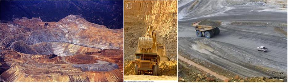 Ilustrasi tambang terbuka dan kegiatannya.