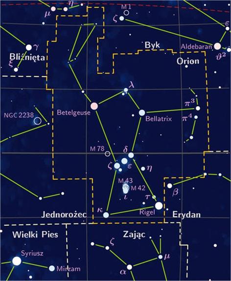 Peta bintang yang menunjukkan rasi bintang orion (dibatasi garis kuning putus-putus).