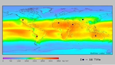 Daerah insolasi (pencahayaan matahari) rata-rata, ditunjukan dengan titik-titik kecil hitam. Daerah ini diperlukan untuk pengembangan energi listrik tenaga surya untuk mengganti pasokan energi dunia dengan total daya 18 TW, 568 Exajoule ( EJ)/ tahun. Insolasi kebanyakan orang rata-rata adalah 150-300 W/m2 atau 3.5-7.0 kWh/m2/hari