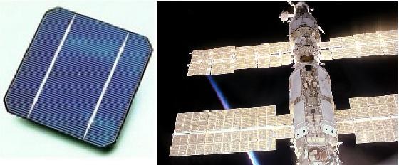 Gambar kiri adalah sel surya yang terbuat dari silicon wafer monocrystaline. Gambar kanan menunjukkan panel surya di stasiun ruang angkasa internasional  yang menyerap cahaya dari kedua sisinya. Sel surya seperti ini lebih efisien jika beroperasi pada suhu rendah.