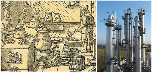 Gambar kiri: Proses distilasi uap untuk menyuling minyak esensial yang ditemukan pertama kali oleh ilmuwan Arab, Ibn Sina (atau Avicenna, hidup antara 980-1037 M). Teknik ini masih terus digunakan sampai sekarang. (Sumber: http://www.essentialoils.co.za/distillation.htm) Gambar kanan: menara distilasi skala industri yang digunakan saat ini, seperti distilasi kolom atau fraksinasi pada perusahan pengilangan minyak bumi.