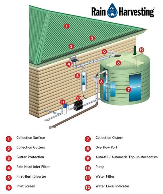 Bagian-bagian dalam teknologi rain harvesting (gambar dari: http://www.watercache.com).