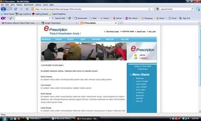 Tampilan menu utama perangkat lunak sistem resep elektronik.