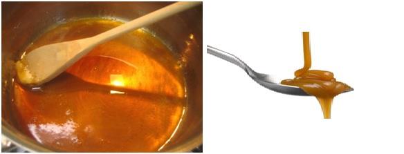Karamel yang terbuat dari reaksi karamelisasi dari pemanasan gula pasir.