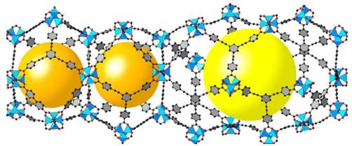 Struktur molekul MOF-210.