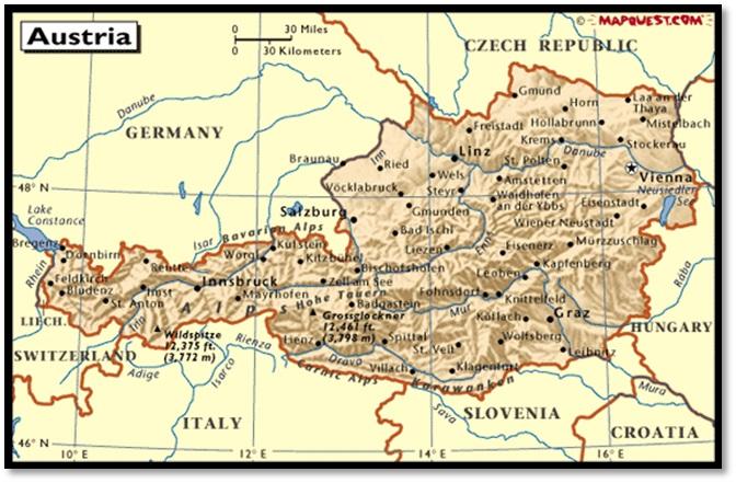 Peta Austria di tengah daratan Eropa.