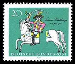 Prangko Jerman yang menggambarkan Baron Münchausen, sedang mengendarai kuda yang terpotong dua. Sumber:http://en.wikipedia.org/wiki/Baron_Münchhausen