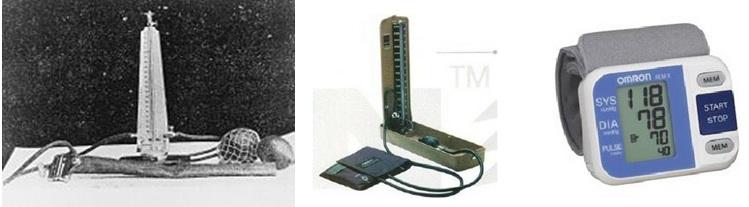 Gambar dari kiri ke kanan: tensimeter penemuan dr Korotkov, tensimeter air raksa, dan tensimeter digital.