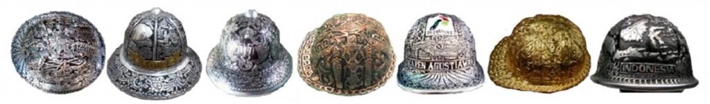 Berbagai helm ukir karya UKM mitra.