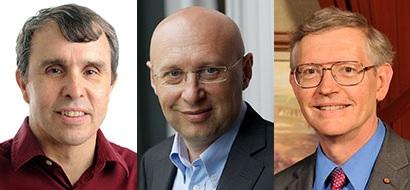 Tiga ilmuwan yang mendapat penghargaan Nobel Kimia 2014 (ki-ka) Eric Betzig, Stefan W. Hell, dan William E. Moerner.