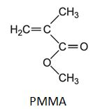 Struktur Kimia PMMA (Polymethyl-methacrylate).