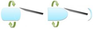 Proses pembuatan lensa kontak dengan metode lathe.