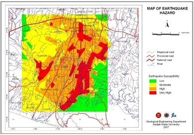 Contoh peta kerentanan bencana gempa bumi daerah sekitar Kota Yogyakarta.
