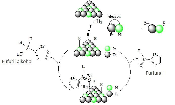 Skema perkiraan mekanisme reaksi hidrogenasi gugus karbonil yang terjadi pada furfural.