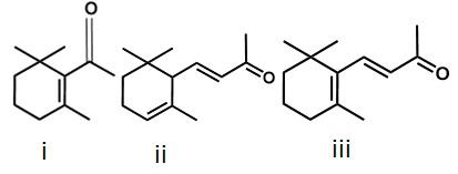 Struktur kimia turunan senyawa flavor turunan karotenoid yang ditemukan pada daun pandan (i) b-cyclocitral, (ii) α-ionone, dan (iii) b-ionone.
