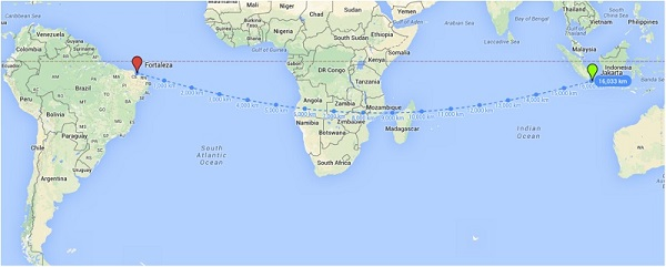 Jarak terdekat Fortaleza – Jakarta berdasarkan Google Maps, tidak berbentuk garis lurus.