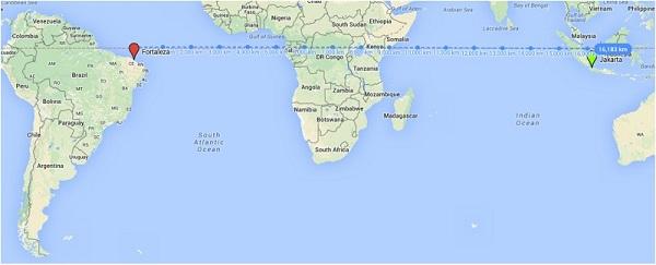 "Jarak ""garis lurus"" Fortaleza – Jakarta berdasarkan Google Maps bukanlah jarak terdekat."