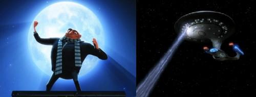 """Dr. Gru dari film """"Descpicable Me"""" (gambar kiri) dan tractor beam dari film """"Star Wars"""" (gambar kanan). Sumber gambar: http://despicableme.wikia.com/ dan http://www.nerdlikeyou.com/"""