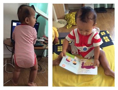 Untuk melakukan berbagai gerakan sederhana seperti berdiri berpegangan dan membolak balik buku, otot bayi ini diperintah otaknya.Sumber: dokumen pribadi