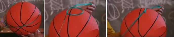 Simpul tali dapat melalui bola, kemudian terikat dengan dirinya sendiri.