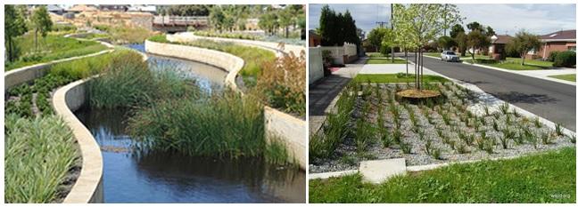 Beberapa contoh penerapan WSUD pada daerah perumahan di Melbourne.