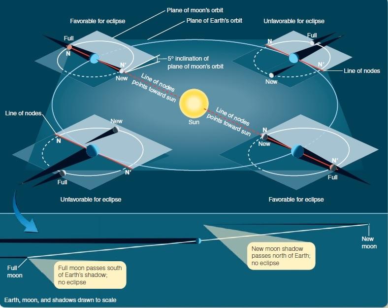 Ilustrasi Gerhana Matahari dan Gerhana Bulan berkaitan dengan kemiringan bidang edar Bumi mengelilingi Matahari dan Bulan mengelilingi Bulan. Sumber: Michael A Seeds, The Solar System, 2008.