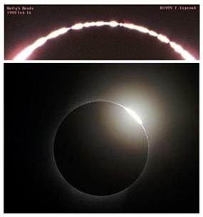 Baily's bead (gambar atas) dan efek cincin berlian (gambar bawah). Sumber: NASA.