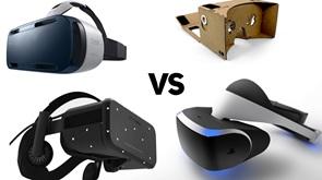 Beberapa jenis headset VR di pasaran saat ini.
