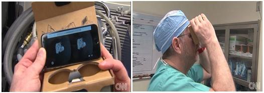Pemanfaatan VR Cardboard untuk bedah jantung anak. Sumber gambar: CNN.