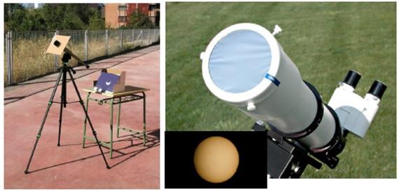 Teknik proyeksi dan teknik pengamatan langsung dengan menggunakan filter matahari. Sumber: Universe awareness, 2016.
