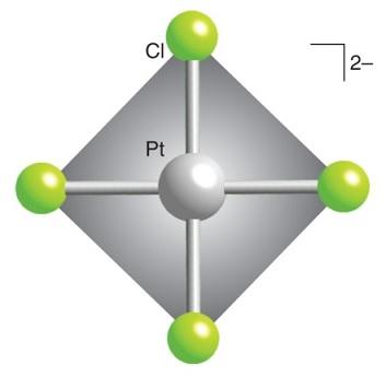 Struktur senyawa koordinasi [PtCl4]2-. Gambar dari: chemtube3d.com.