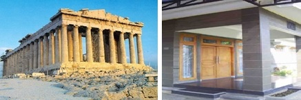 Contoh pilar berbentuk tabung (gambar kiri) dan balok (gambar kanan). Sumber gambar dari Google Search.