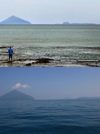 Perbandingan gugus kepulauan Krakatau dari pantai Anyer (atas) dan dari perairan Selat Sunda (bawah). Perhatikan kaki gunung Anak Krakatau yang nyaris tidak tampak, dan baru terlihat setelah mendekati gunung. Sumber gambar: oysteinlundandersen.com (gambar atas) dan justinandcrystal.com (gambar bawah).