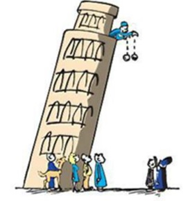 Catatan sejarah menunjukkan Galileo sebenarnya tidak melakukan percobaan secara langsung di Menara Pisa. Mayoritas sejarawan meyakini bahwa cerita percobaan di Menara Pisa itu sekadar ilustrasi saja yang dituturkan dari mulut ke mulut.