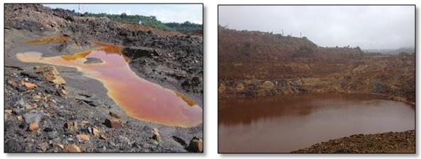Air asam tambang dan kolam penampungan air asam tambang.
