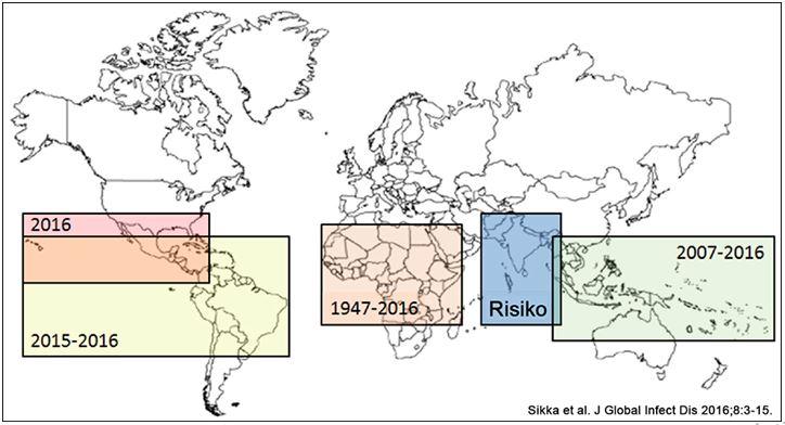 Pola Wabah Virus Zika di Dunia Tahun 1947-2016 serta Perkiraan Risiko Wabah Virus Zika di Masa Depan. Sumber: Sikka V, et al. J Glob Infect Dis. 2016;8(1):3-15.