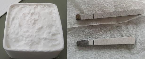 Gambar kiri: Serbuk hidroksiapatit. Gambar kanan: Batang titanium yang telah dilapisi Hap.