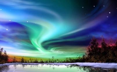 Aurora di langit daerah dekat kutub utara.