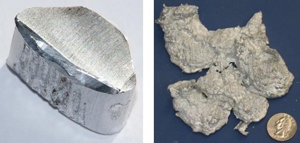 (Kiri) Logam aluminium (Al); (Kanan) Aluminium oksida. Sumber gambar: http://wikipedia.org