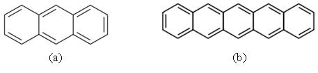 (a) Anthracene, dan (b) pentacene: molekul aromatik dengan elektron π terkonjugasi yang bersifat konduktif.