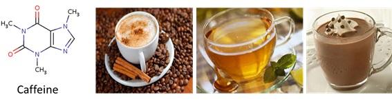 Kafein (caffeine) yang dapat ditemukan di beberapa bahan minuman, seperti kopi, teh, dan coklat.