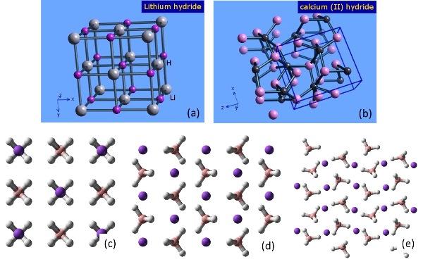 Struktur kristal (a) LiH, (b) CaH2, (c) α-NaBH4, (d) β-NaBH4, dan (e) γ-NaBH4. Sumber gambar: http://www.webelements.com dan http://www.wikipedia.org