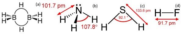 Ilustrasi rantai ikatan (a) B2H6, (b) NH3, (c) H2S, dan HF.  Sumber gambar: http://www.wikipedia.org