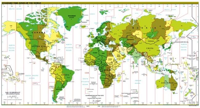 Pembagian zona waktu per 20 September 2011.