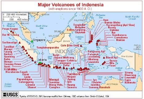 Persebaran gunung berapi aktif di Indonesia.