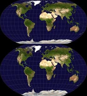 Proyeksi Robinson (atas) dan proyeksi Winkel tripel (bawah). Sumber gambar: Wikipedia.